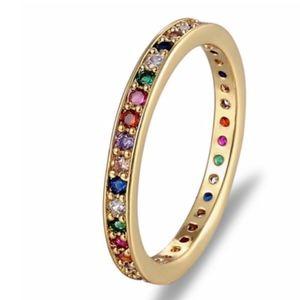 Gold Rainbow Pavé Thin Baguette Ring